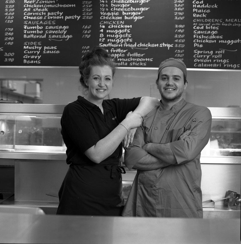 Sarah and Rui. Fish and Chip Shop